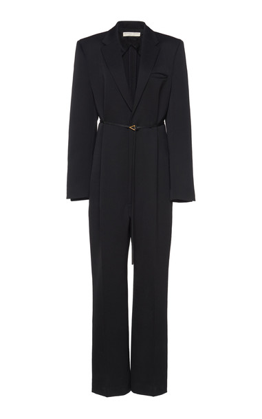 Bottega Veneta Tailored V-Neck Wool Jumpsuit Size: 38 in black