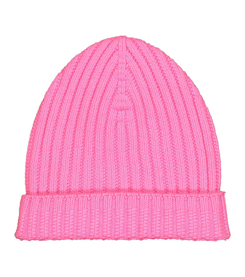 Barrie Ribbed-knit cashmere beanie in pink