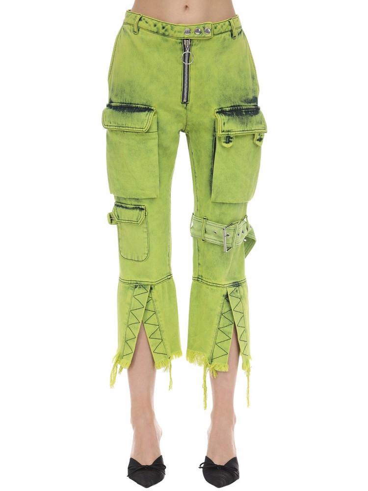 MARQUES'ALMEIDA Multi Pocket Cropped Denim Jeans in green