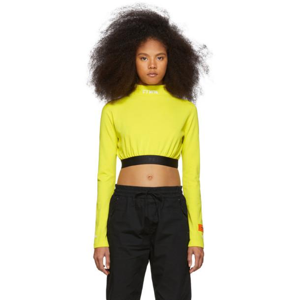 Heron Preston Yellow Style Cropped Long Sleeve T-Shirt