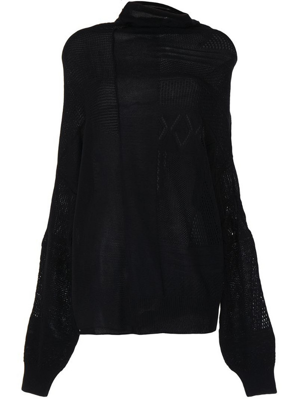 Y's panelled-knit jumper in black