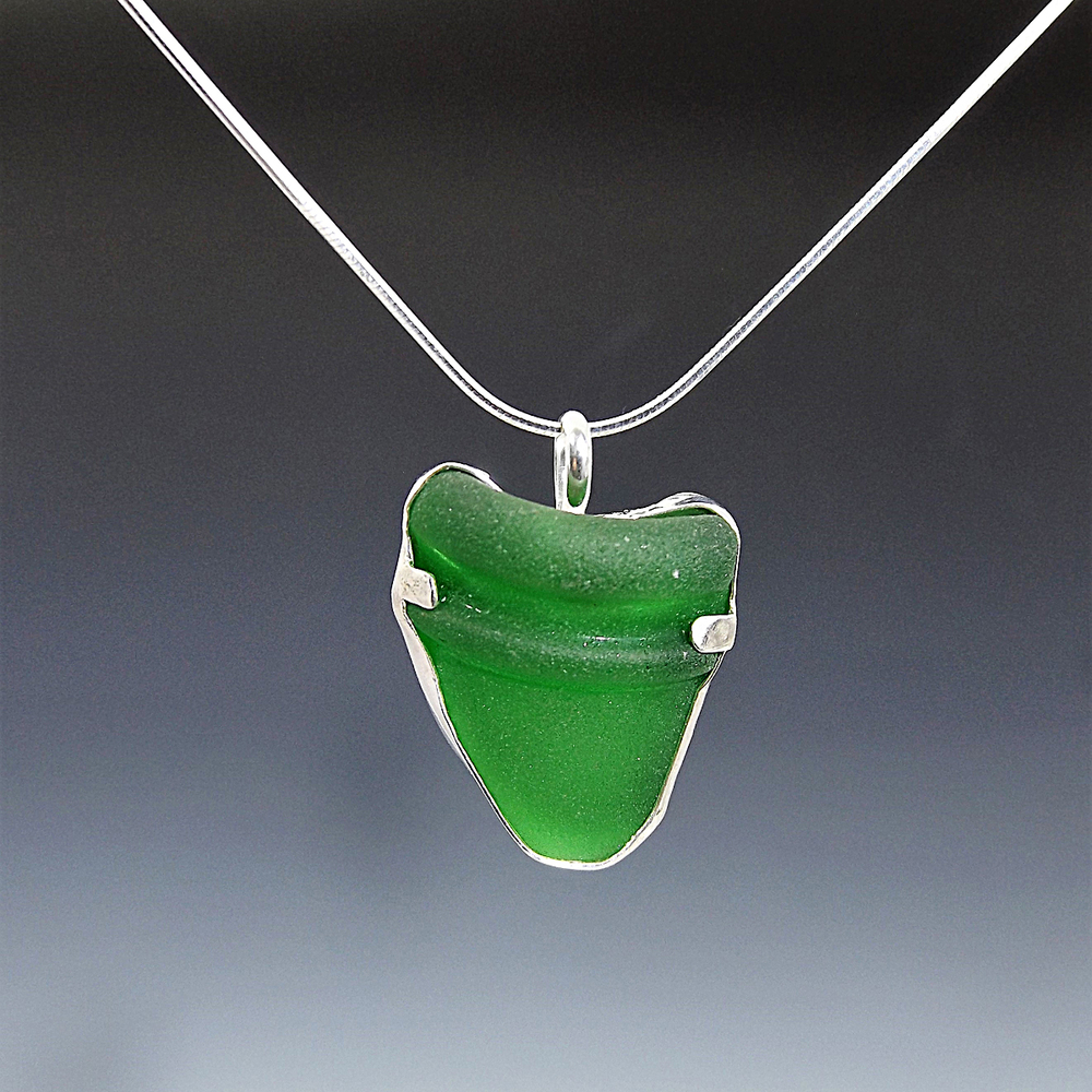 Authentic Green Sea Glass Necklace From Wrightsville Beach, NC