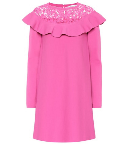 Valentino Lace-trimmed knit minidress in pink