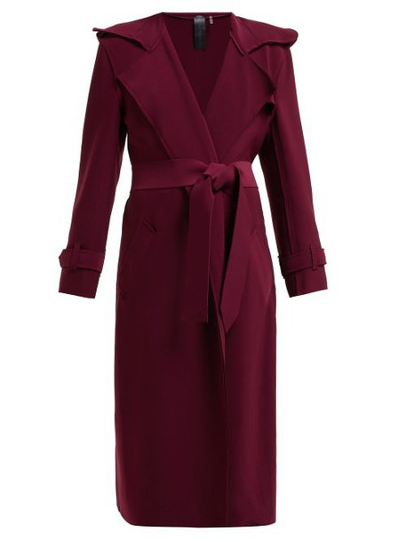 Norma Kamali - Tie Waist Trench Coat - Womens - Burgundy