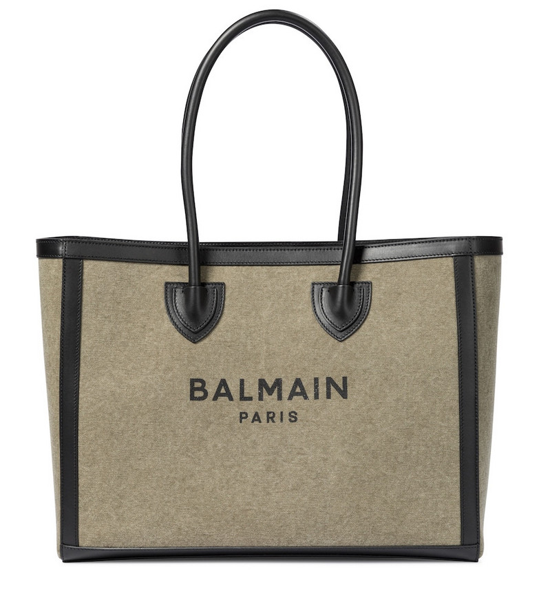 Balmain B-Army 42 canvas shopper in green
