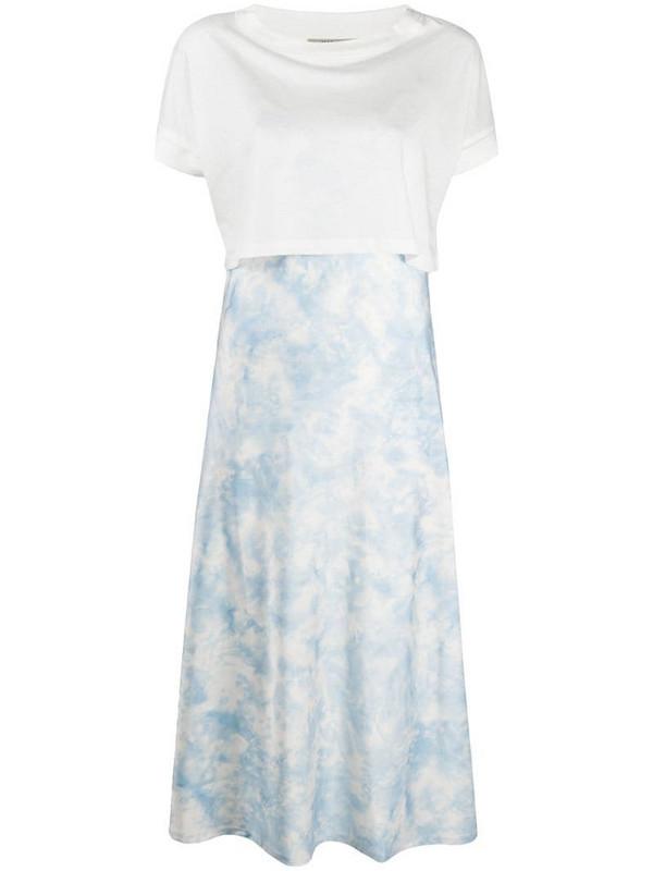 AllSaints T-shirt panel satin dress in white