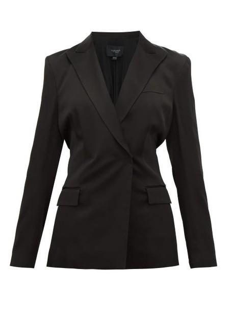 Giambattista Valli - Double Breasted Shirred Back Satin Blazer - Womens - Black