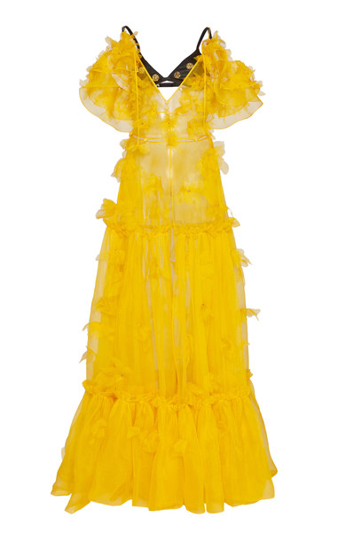 Dundas Floral Embellished Ruffled Maxi Dress in yellow