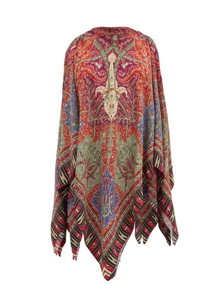 Etro - Handkerchief-hem Printed Blouse - Womens - Red Multi