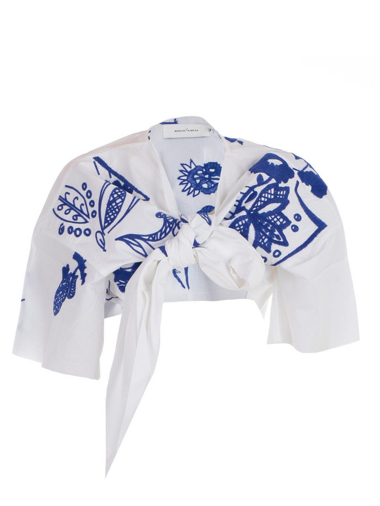 Marques'almeida Embroidered Cropped Top in blue / white