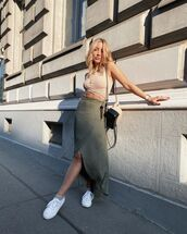 skirt,wrap skirt,white sneakers,crop tops,bag