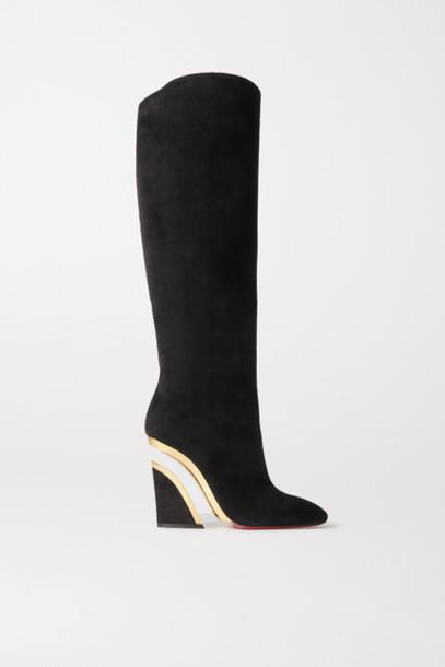 Christian Louboutin - Levitibotta 100 Suede Wedge Knee Boots - Black