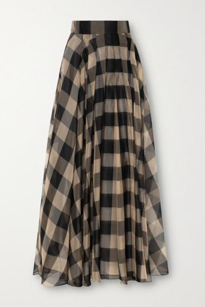 Akris - Gingham Silk-organza Maxi Skirt - Black