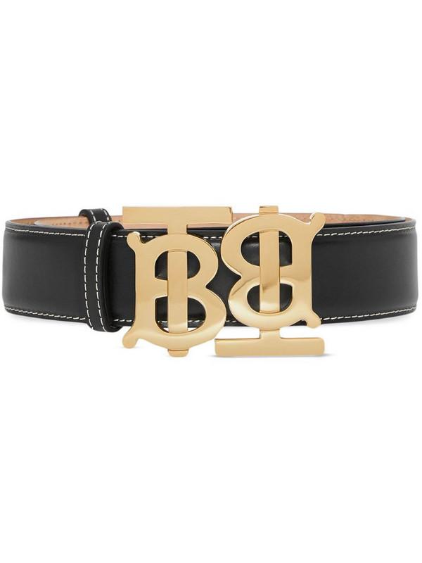 Burberry double monogram buckle belt in black