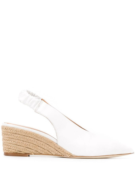 Paloma Barceló slingback wedge heel pumps in white