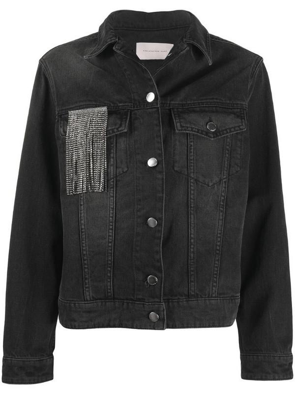 Christopher Kane crystal fringe denim jacket in black