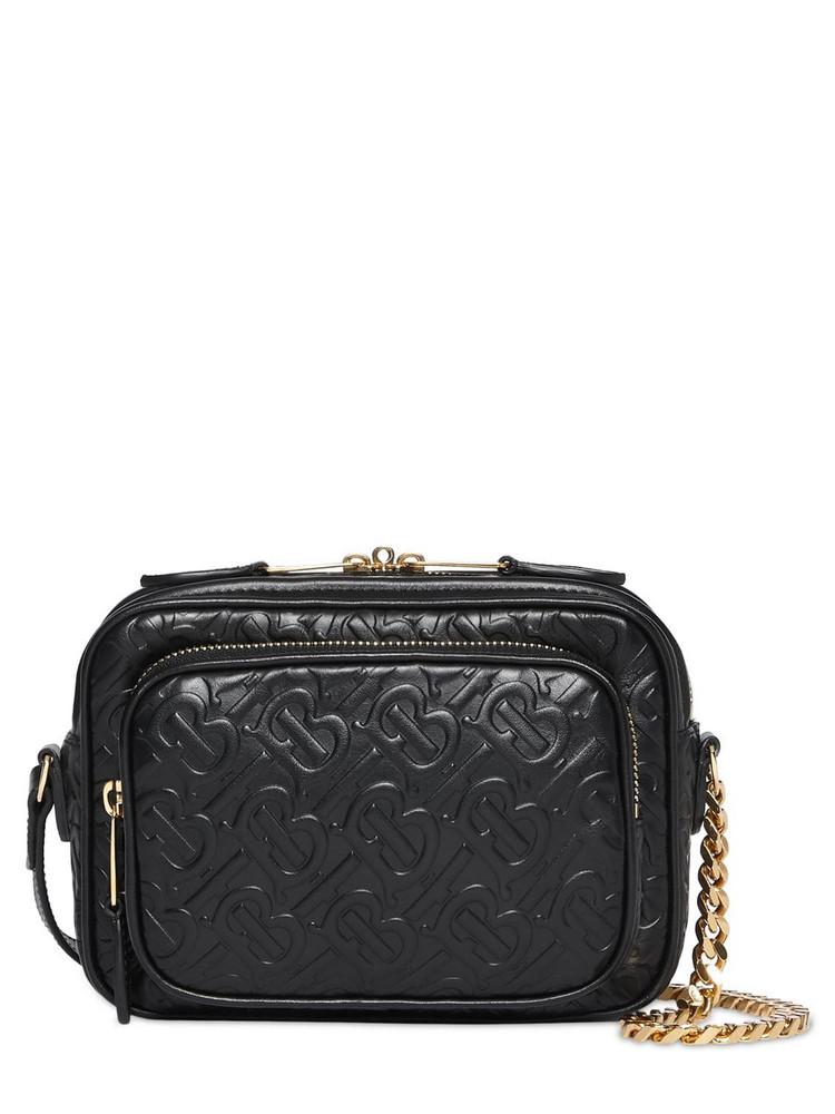 BURBERRY Embossed Monogram Leather Camera Bag in black