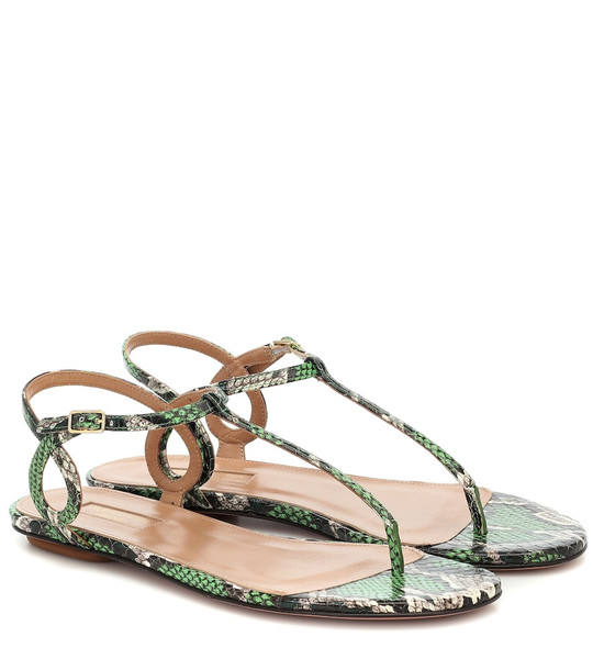 Aquazzura Almost Bare snakeskin sandals in green