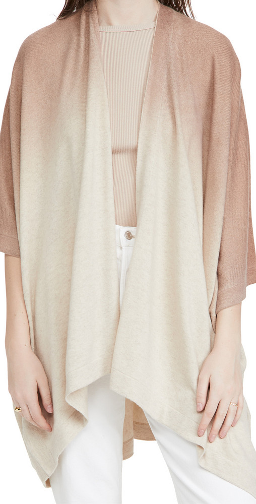 Naadam Ombre Cashmere Poncho in camel
