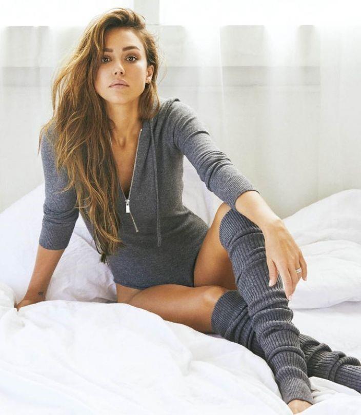 top bodysuit jessica alba celebrity grey hoodie editorial