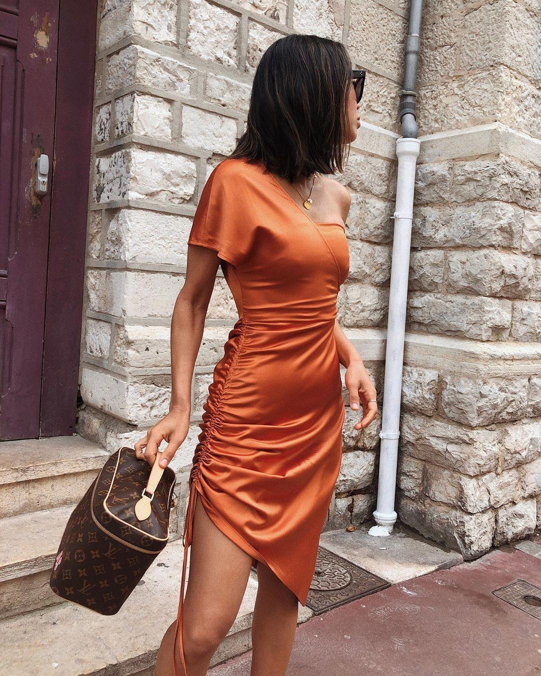 dress orange dress satin dress bag