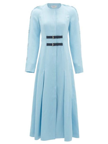 Gabriela Hearst - Arianna Whipstitched Raglan-sleeve Midi Dress - Womens - Light Blue