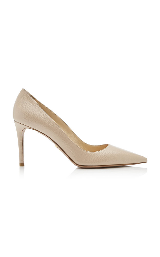 Prada Leather Pointed-Toe Pumps in neutral