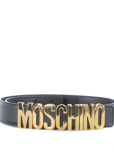Moschino Logo Plaque Belt in nero