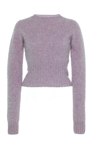 Victoria Beckham Cropped Seamless Wool Sweater Size: S in purple