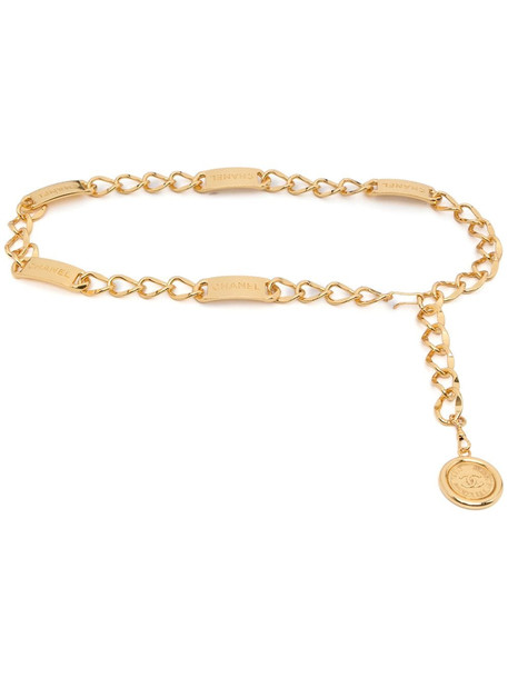 Chanel Pre-Owned logo charm chain belt - Gold