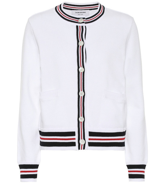 Thom Browne Cotton cardigan in white