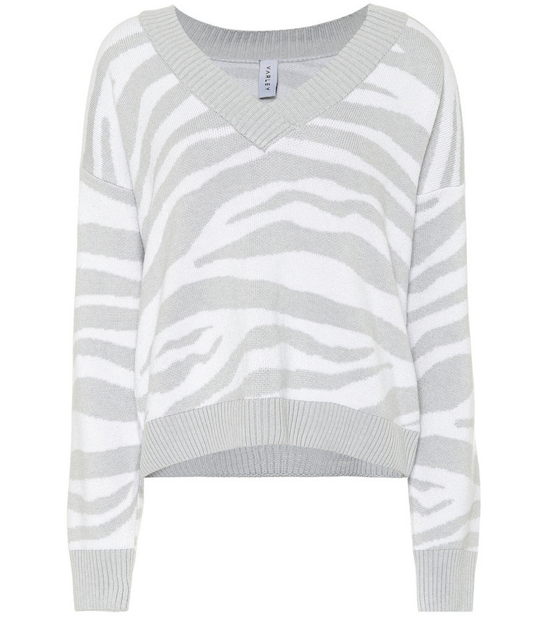Varley Calvert zebra-striped sweater in grey