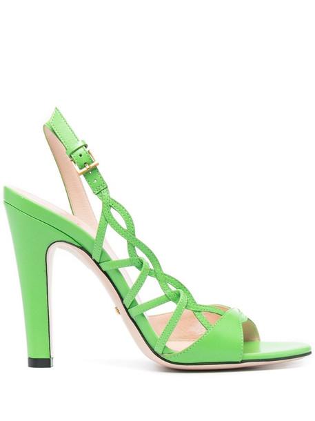Gucci 120mm lattice-strap sandals in green
