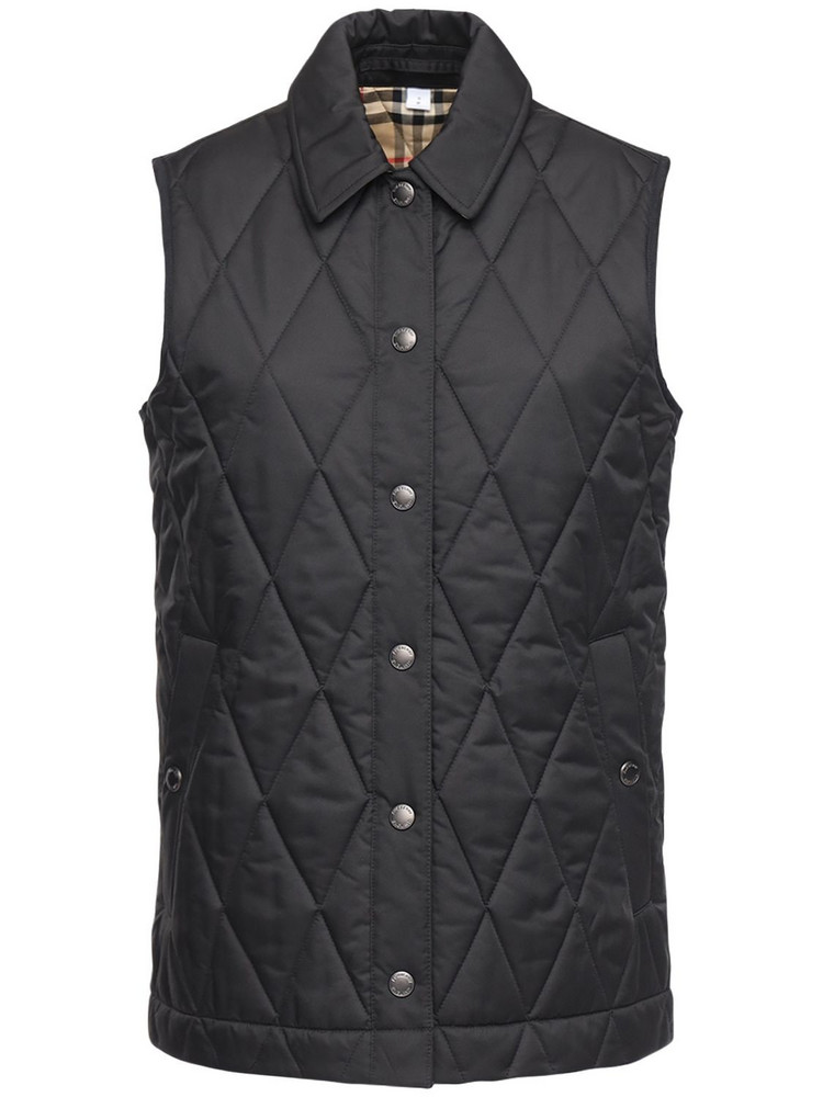BURBERRY Quilted Vest W/check Lining in black