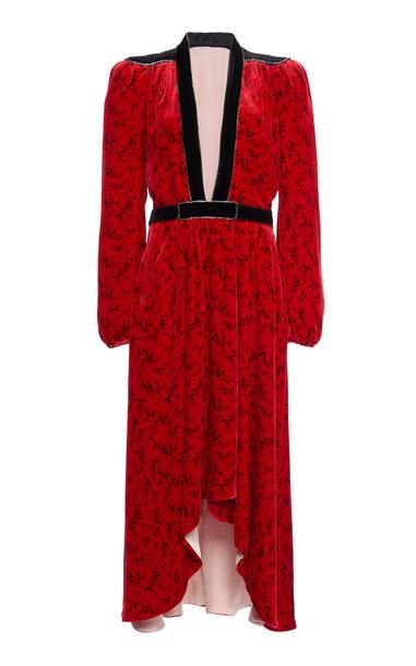 Philosophy di Lorenzo Serafini Liberty Floral-Print Velvet Dress in red