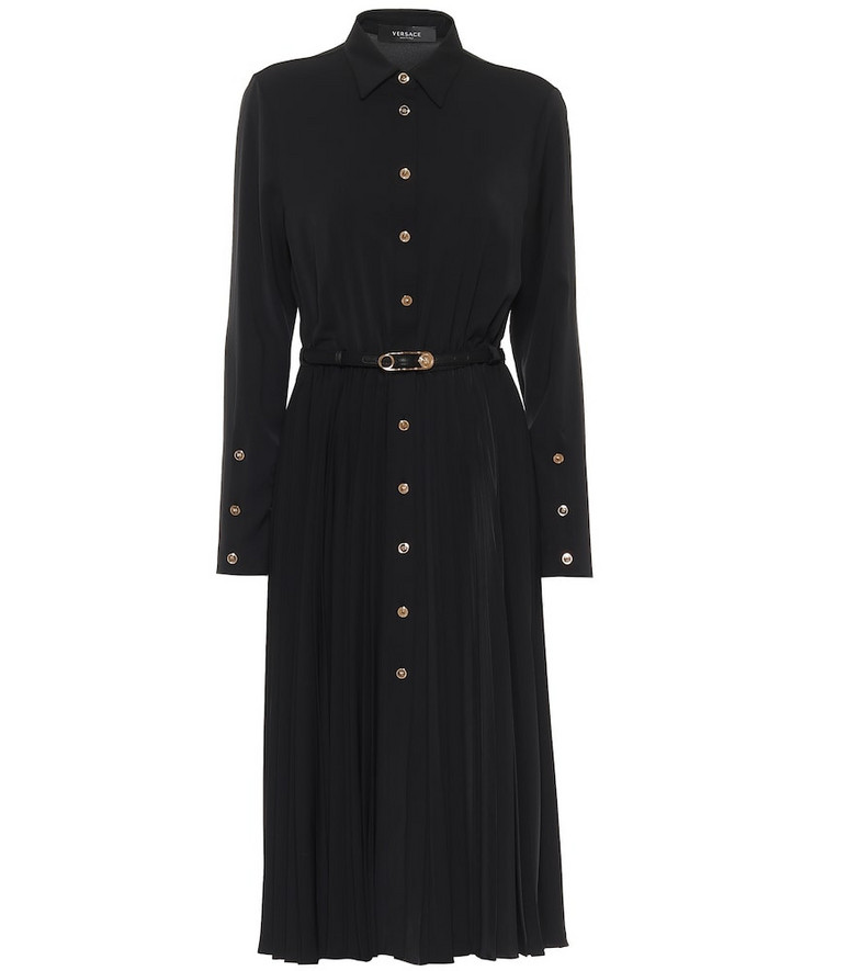 Versace Pleated jersey shirt midi dress in black