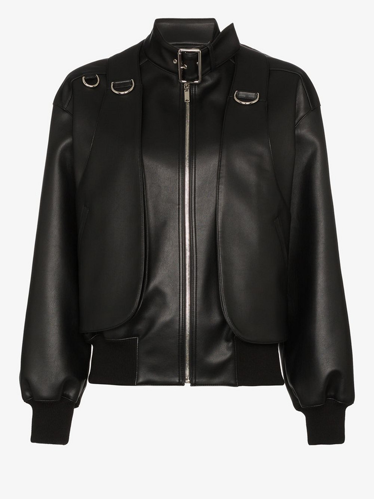 We11done Buckled neck faux leather bomber jacket in black