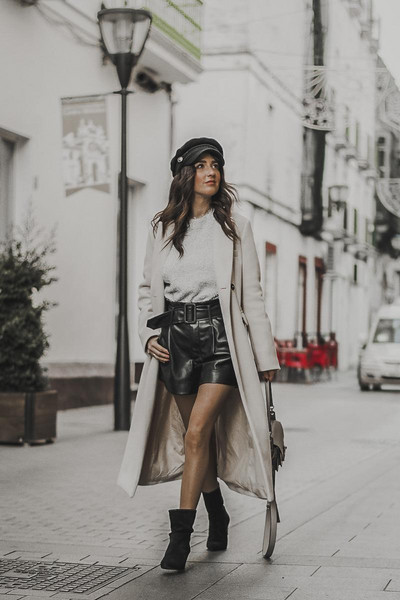 shoes and basics blogger coat sweater shorts bag shoes ankle boots winter outfits leather shorts long coat
