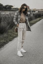 shoes and basics,blogger,jacket,sweater,pants,bag,shoes,blazer,sneakers,high top sneakers,spring outfits