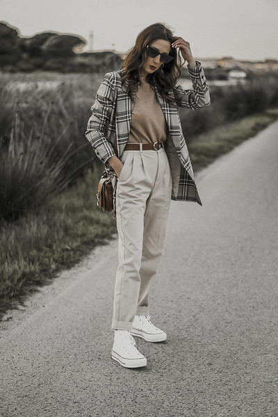shoes and basics blogger jacket sweater pants bag shoes blazer sneakers high top sneakers spring outfits
