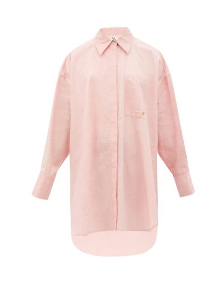 Ssone X Ressone - Astrid Hand-embroidered Cotton-poplin Shirt - Womens - Rose