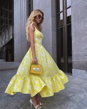 dress,yellow dress,handbag,white sandals