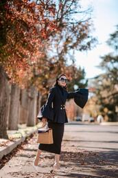 hallie daily,blogger,dress,top,skirt,sweater,bell sleeves,spring outfits,jacket,black blazer,double breasted,white shoes,mules,midi skirt,black skirt,handbag,black turtleneck top,classy,sunglasses,earrings