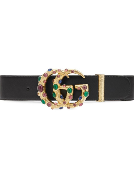 Gucci embellished GG buckle belt in black