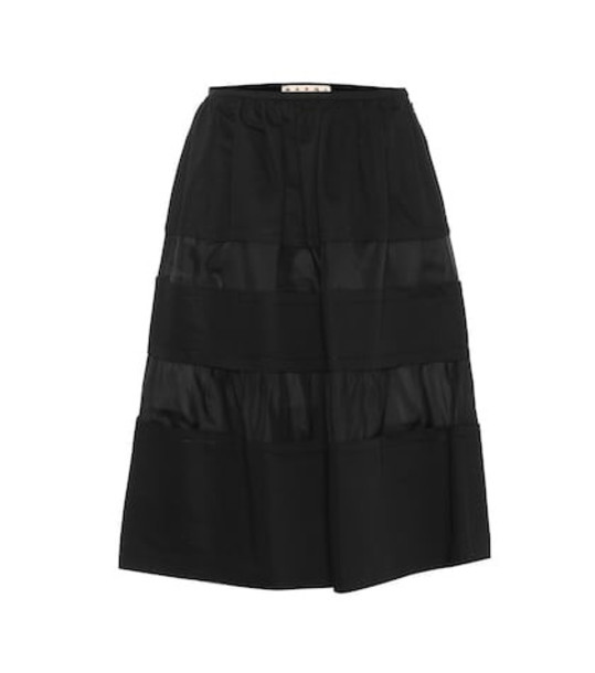 Marni Cotton and linen A-line skirt in black