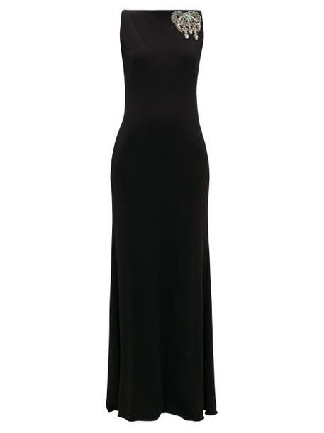 Alexander Mcqueen - Embellished Bateau-neck Jersey Gown - Womens - Black