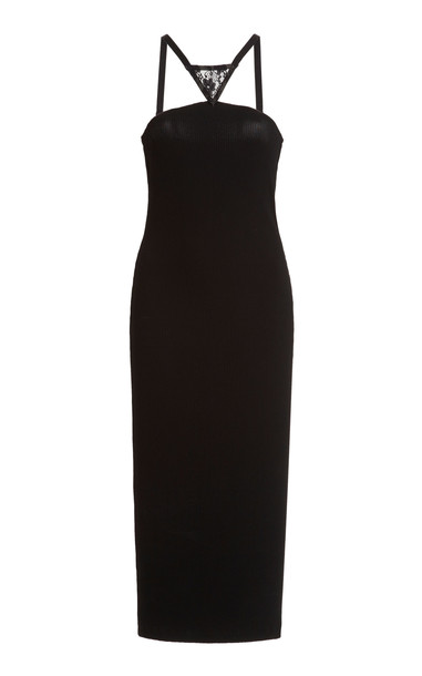 Christopher Kane Lace-Panelled Jersey Bodycon Dress in black