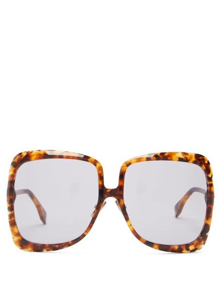 Fendi - Oversized Square Tortoiseshell-acetate Sunglasses - Womens - Tortoiseshell