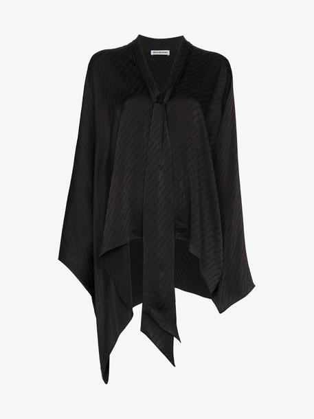 Balenciaga jacquard logo asymmetric blouse in black