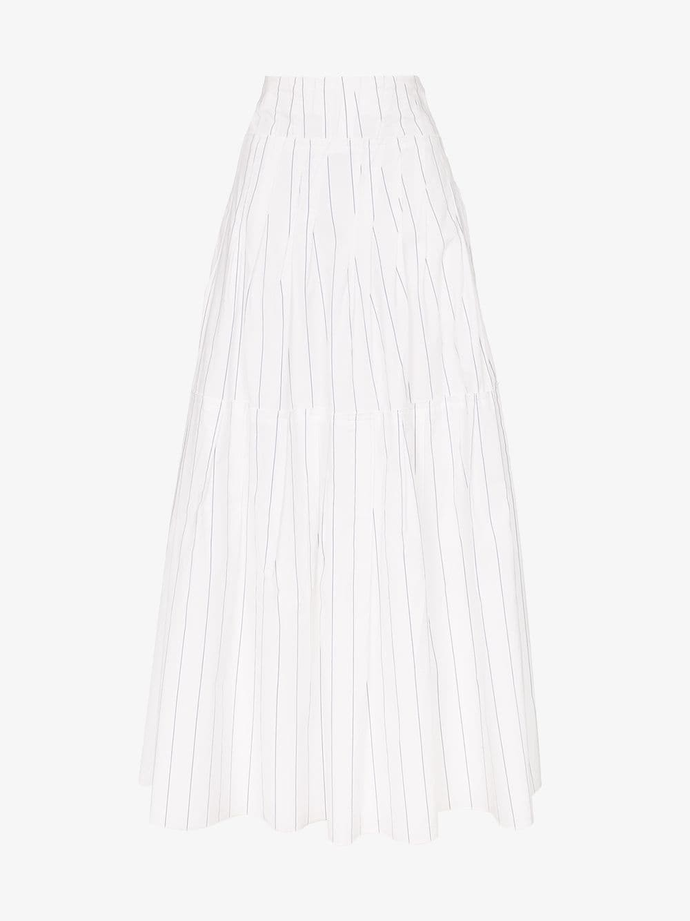 Plan C high waisted tiered pinstripe skirt in white